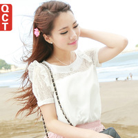 2014 spring new  T-shirt shirt bottoming  Flounced lace stitching  Slim small shirt  Women's short-sleeved chiffon shirt