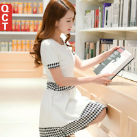 Qct 2014 summer houndstooth one-piece dress patchwork white a-line  short-sleeve dress