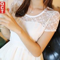 2014 summer female lace cutout fashion women's short-sleeve dress slim