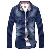 2014 men's spring long-sleeve shirt   slim denim outerwear casual denim shirt male cloth 2 colors CN Free Shipping