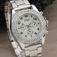 Fashion Silver Steel Case Bling Dial Women Quartz Dress Rhinestone Crystal Bracelet Dress Watch Q922