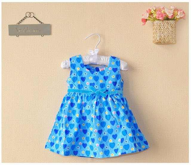 New baby girls vest party dresses 100% cotton 2014 summer carters blue stars love-heart bowknot princess dress baby clothing(China (Mainland))