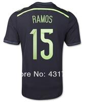 Copa del Mundo 2014 World Cup Spain ESPANA Black 15 RAMOS Camisetas de Futbol T Shirts Uniform Original and Spain Soccer Jerseys