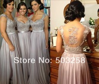 AED2 New Arrival  cap sleeves backless Floor-length Fashion Crystal Applique Bridesmaid dresses