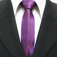 New Trend Mens Unique Neckties For Man Purple With Orange Skinny Casual Distinctive Neck Ties Gravatas 5CM F5-K-3