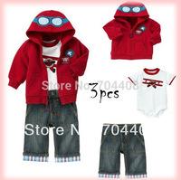 Retail Promotional sale!!! Baby boys 3pcs clothing set Cute pilot jacket+romper+jeans Lovely boy clothing