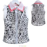New 2014 Summer Girls Black Sleeveless Turn-down Collar Blouses Children Leopard Chiffon Buttoned Shirt  5 Pcs/Lot Free Shipping