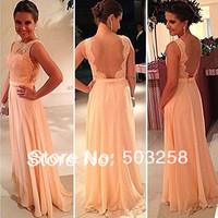 AED1 2014 Falbala long chiffon dress Elegant High Neck Appliqued Long Backless Bridesmaid Dress Chiffon