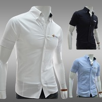 Leather pocket decoration 100% cotton casual short-sleeve shirt slim male