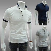 Brief color block male basic shirt short-sleeve slim stand collar t-shirt for men,WOPB0510,Summer Man t shirt