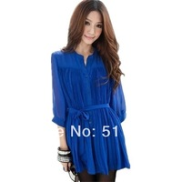 FREE SHIPPING loose casual stand collar plus size long design semitransparent pleated chiffon shirts