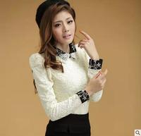 Roupas Femininas New 2014 Full Autumn Vintage Peter Pan Collar Long-sleeve Top Plus Size Velvet Shirts Women Blouse Blouses