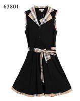 Free Shipping Classic Women's Brand Designer Summer Turn Down Plaid Collar Casual Dress,Sexy Sleeveless Check Dresses SIZE M-XXL