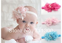 2014 new Beautiful rose pearl flower girls headwear baby & kids headbands,children hair accessories