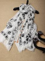 Skull print modal cashmere scarf cape
