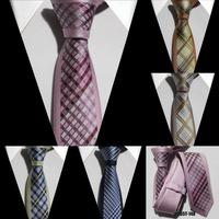 Unique skinny Tie mens fashion plaids necktie