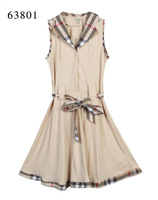Free Shipping Classic Women's Brand Designer Summer Turn Down Plaid Collar Casual Dress,Sexy Sleeveless Check Dresses #A