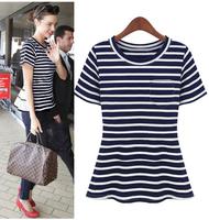 New summer fashion women casual blue stripe tshirt brand classical design t shirt top blouse for woman t-shirt plus size