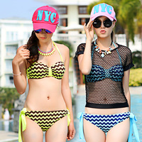 Swimwear color block stripe steel push up bikini shirt piece set female swimwear