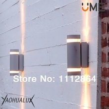 2pcs/lot  Decorative GU10 35W / 9W PL outdoor wall lamps clear PC Class I IP44(China (Mainland))