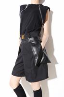 Fashion cotton patchwork leather three-dimensional pocket loose skirt half-length capris