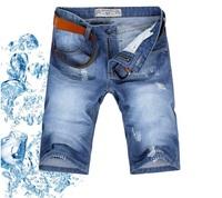 2014 summer new arrival korean style designer jeans shorts men brand light blue cotton denim fashion ripped jeans for men L5801