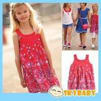 Newest  Border Floral Girls Chiffon Dress Crystal Elegant Girls Summer Dress Brand Junior's Party Dress