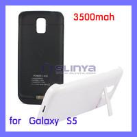 Black White 3500mAh External Battery Case for Samsung Galaxy S5 i9600