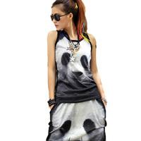 2014 Women's Spring Summer Iswag Sport suit 2 Piece Top And Pants Set Black Panda print Sportswear Sweatshirt Set Women Hoodie