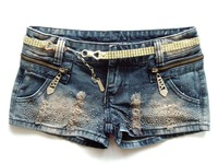 2014 Free shipping zipper paillette ornament pockets jeans shorts for summer free size denim shorts women hot sale
