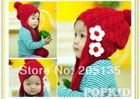 2014 Cute baby girls Winter Autumn hat scarf cap Toddler kids crochet warm hat flower Beanie Cap wholesale free shipping