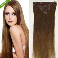 "Straight Full head 15""-30'' Human Hair Extension Clip in Hair Extensions Virgin Remy  medium brown/medium ash brown 8#"