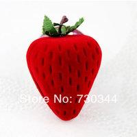 Velvet gift Box, strawberry shape velvet gift box,  fruit shape velveteen gift box, sold by lot(10pcs/lot)