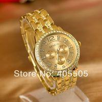 2014 Newest Fashion European & American Style  Watches Ladies & Gentalmen Diamond Flanger Alloy GENEVA Watch DHL Free 50pcs/lot