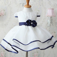 wholesale free shipping new summer casual High-grade pure white bowknot princess dress baby girls dress high quality