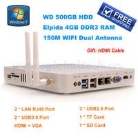 Mini Desktop PC Computer Celeron 1037U Smart PC 4GB DDR3 500GB HDD Wireless Mini Windows PC Fanless Thin Client 2 LAN Nettop PC