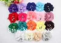 "20 Pcs/lot 2"" Chiffon Flower,Beaded Rhinestone Flower,Handmade Pearl Diamond Chiffon Flower,DIY Flower Headband  CNBJ01"