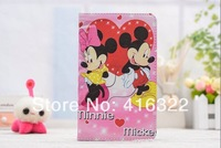 Free Shipping Cute Cartoon Mickey&Minnie book Leather flip stand cover for samsung galaxy Tab3 Lite T110 T111 For 7inch case