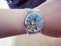 2014 New Cartoon Batman Boys Girls Children Non-toxic Analog Sports Waterproof Wristwatch Gift Watch Free Shipping