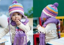 2014 Cute baby girls winter hat scarf striped flowers toddler kids cap children warm Scarf + hat colorful candy Bomber Hats(China (Mainland))