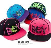New boy girls baseball cap with  BOYletter , 2014 children snapback hip hop hats, kids sun casual caps, baby hats,unsex