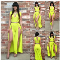2014 New Fashion Sexy Short V Neck Yellow Dress Girl Print Dress Brand Women Summer Party Floor Length  Dresses On Sale