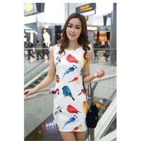 2014 New Print Plus Size Spring Summer Sleeveless Korean Famous Designer Fashion Casual Slim Elastic Sexy Women's Dress