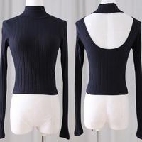 It halter-neck racerback cutout long-sleeve slim waist slim bars knitted t-shirt basic shirt