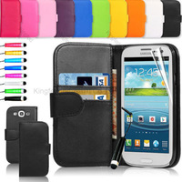 500 pcs/lot  Wallet Leather Pouch Case Cover with Card Slot For Samsung Galaxy S3 I9300 with Stylus