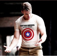 Free Shipping New 2014 summer Captain America 2 Shield men t shirts short-sleeve 100% cotton