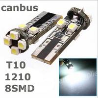 100pcs/Lot canbus T10 8 SMD 12v 1210 3528 LED Canbus No OBC Error 194 168 W5W T10 led interior lights bulb lamp LED Light White