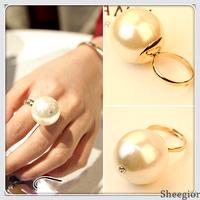 2014 Fashion Bijoux Big Pearl Ring rhinestone Gold rings Free shipping women Brand Wedding Engagement Jewelry