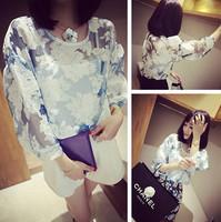 2014 summer vintage unique elegant female perspective organza patchwork lace shirt top