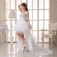 2014 fashion beading  lace princess low-hight train  short wedding dress  plus size custom